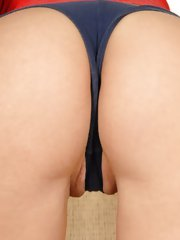 Round assed hottie with a great camel toe getting fucked