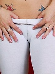 Camel toe blondie puts on her tightest spandex to tease this guy